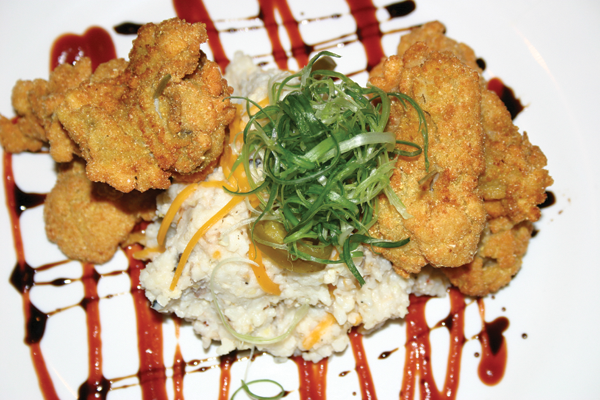 Crispy Cornmeal Fried Pamlico Oysters with Jalapeno, Cheddar and BBQ Pork Grits